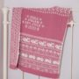 Animals & Flowers personalised baby blanket in dusky pink BLICKLING