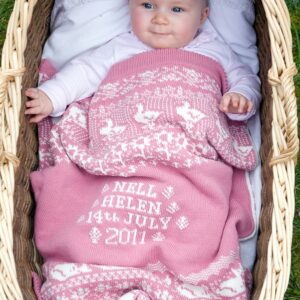 Personalised Baby Blankets (Animals & Flowers in Blicking)