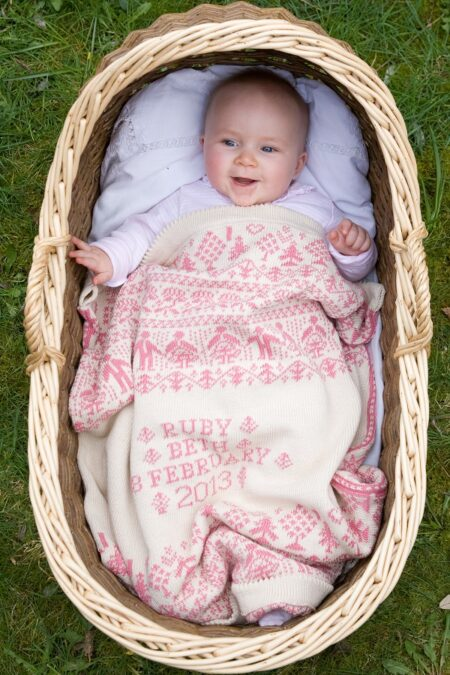 People & Trees personalised baby blanket in HEYDON - cream and pink