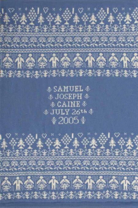 People & Trees personalised baby blanket in HOLKHAM blue