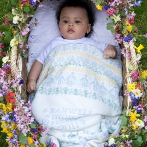 People & Trees baby blanket in STIFFKEY - baby in moses basket