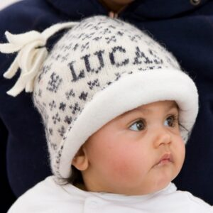 Knitted Reindeer Baby Hat - navy