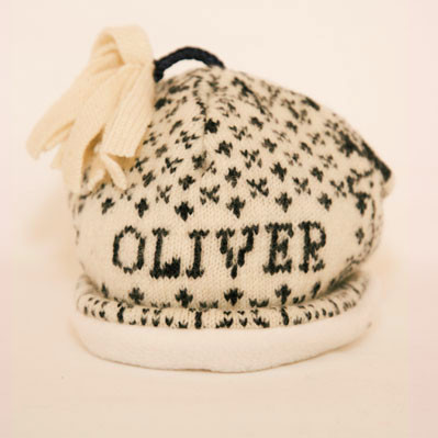 Navy/Cream Personalised Baby Hat