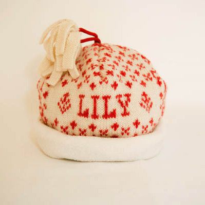 Scarlet/Cream Personalised Baby Hat