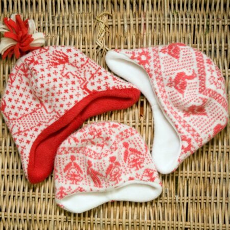 Lucky dip hats - scarlet and tulip