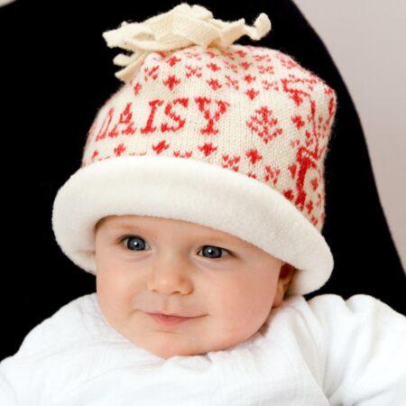 Knitted Reindeer Baby Hat - scarlet