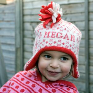 Knitted Reindeer Personalised Child Hat - scarlet