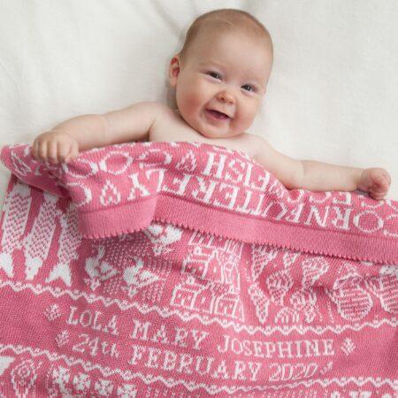 Alfie & Betty Candyfloss Personalised Baby Blanket
