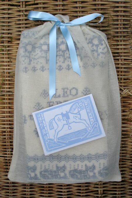 Muslin gift bag and card