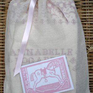 Muslin gift bag - pink ribbon and card