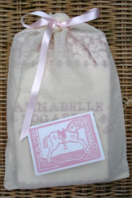 Muslin gift bag - pink ribbon and card