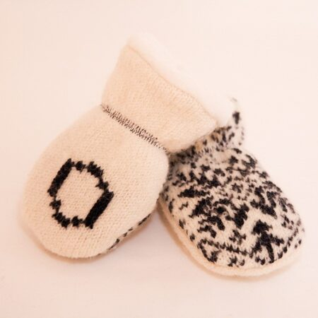 navy personalised wool baby mittens
