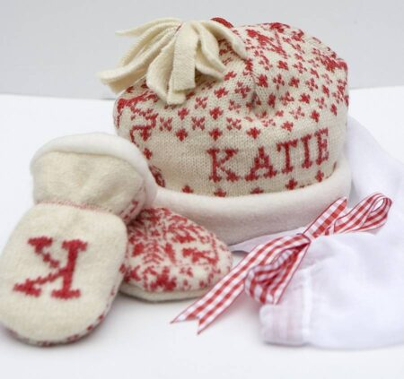 scarlet baby hat and mittens set