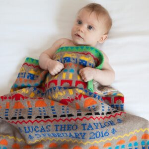 Toybox baby blanket in Parade